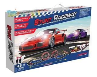 Pista Artin Scalextric Stunt Con Transformador Autos Porsche