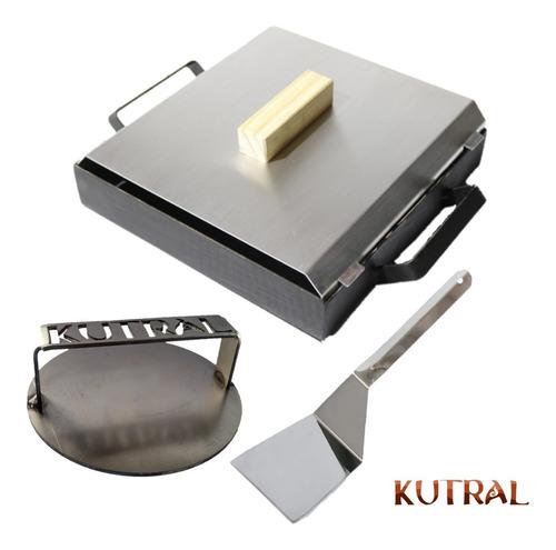 Imagen 1 de 8 de Plancha De 1 Hornalla + Tapa + 1 Espatula + 1 Smasher Kutral