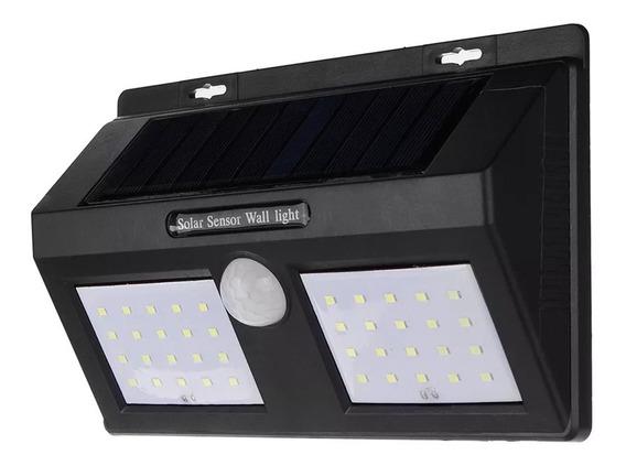 Lâmpada Parede 40 Leds Energia Solar Luminária Sensor Preto