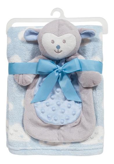 Cobertor Manta Com Naninha Ovelhinha Para Bebê Azul - Buba
