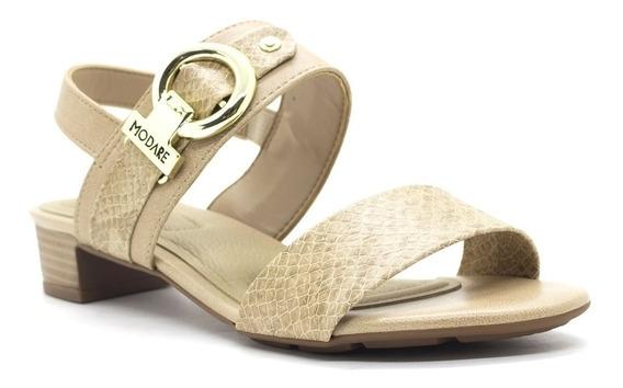 Sandália Salto Baixo Grosso Modare Conforto Bege