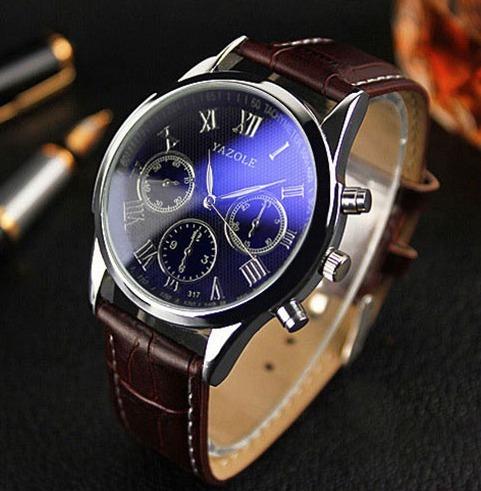 Relógio Masculino Analogico Super Luxo Couro Yazole