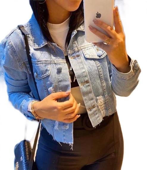 Jaqueta Jeans Femini Barra Desfiada Botões Bolso Casaco Moda
