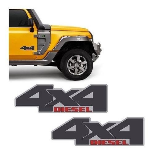 Imagem 1 de 4 de Emblema 4x4 Diesel Troller 2015/2019 Adesivo Lateral Portas