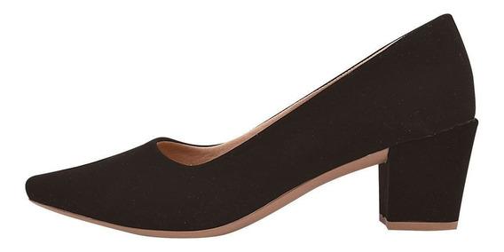 Sapato Feminino Salto Grosso Médio Scarpin Preto Chiq -