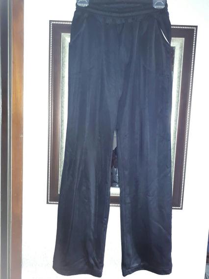 Pantalón Negro De Acetato Frizado Talle 38/40