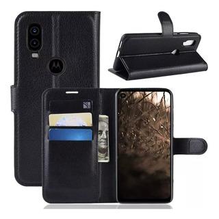 Capa Case Carteira Flip Motorola One Vision Preto