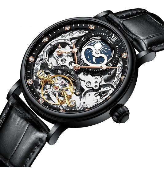 Reloj Para Hombre Automático Mecánico Kinyued Negro J0552 Sk
