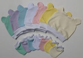 Touca Com Orelhinhas + 2 Pares De Luvas P/bebês 100%algodão