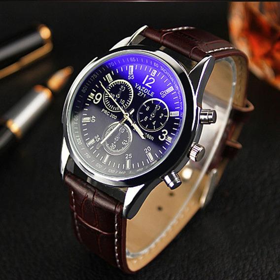 Relógio Casual Masculino Yazole Pulseira De Couro Luxo