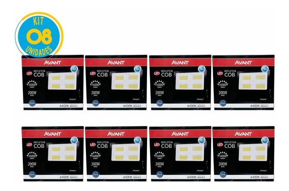 Kit Refletor Led 200w Branco Holofote Bivolt 8 Un Avant
