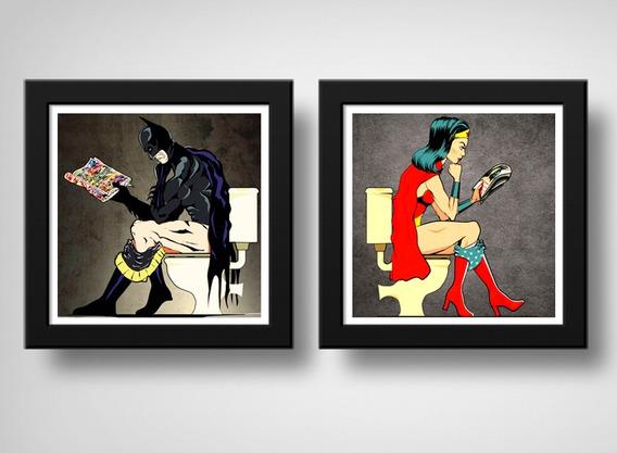Kit 2 Quadros Batman Mulher Maravilha Banheiro Moldura Vidro