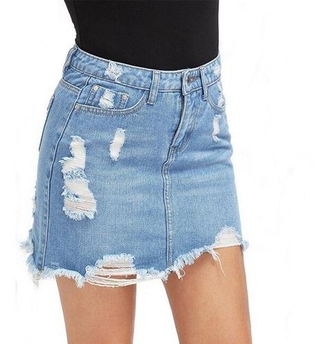Saia Jeans Destroyed Rasgada Curta Desfiada Cintura Alta