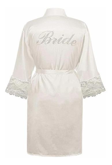 Linda Bata Blanca Satinada Para Novia Bride Cristales Encaje