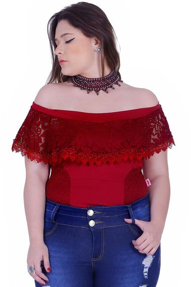 Body Feminino Zigma Plus Size Colar Marsala
