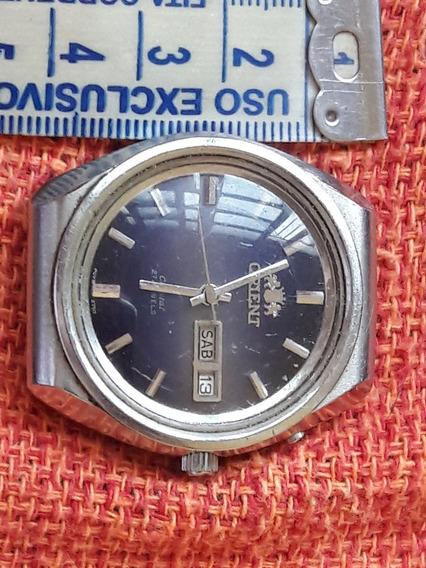 Relógio Antigo Orient Mostrador Azul Automático 27 Jewels Crystal Raro Leia A Descrição