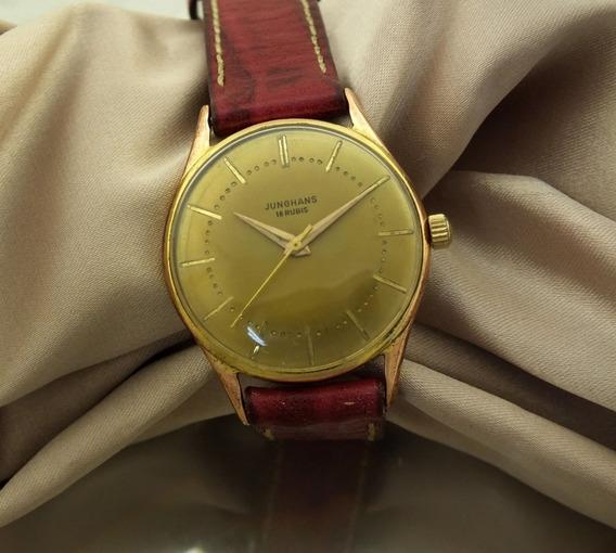 Relógio De Pulso Masculino Aço E Ouro 18k Junghans 16 Rubis Maquina Mecanica 36 Gramas Sem Juros Frete Gratis J22038