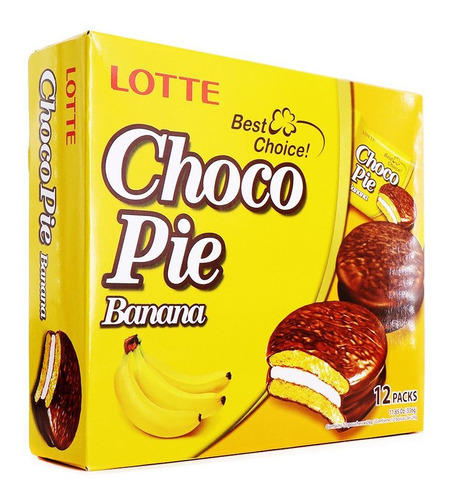 Imagen 1 de 6 de Choco Pie De Platano Caja Con 12 Pz Pastelito Coreano Banana