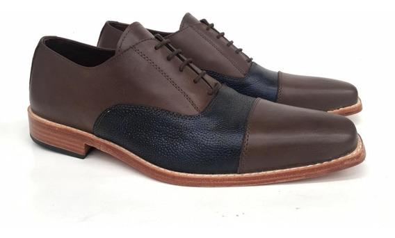 Zapato Cuero Hombre Fino Vestir Base Suela Punta Cuadrada