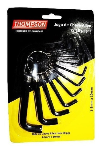 Imagem 1 de 2 de Chave Allen 1,5mm A 10mm Thompson - Kit C/10 Peças