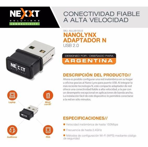 Adaptador Inalambrico Placa Wifi Usb 150mbps Nexxt Nano