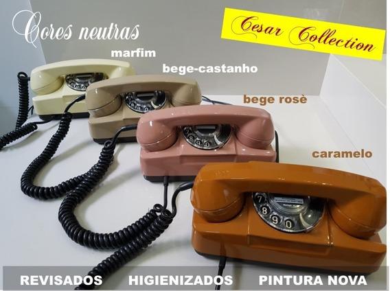 Telefone Tijolinho, Disco, Bege Rosé, Pintura Nova.
