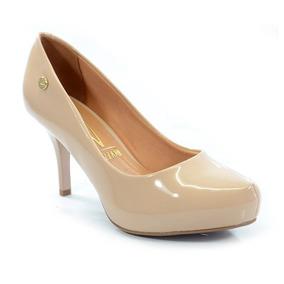 661e3a5a0e Sapato Salto Médio Vizzano Verniz Bege Claro 1781421 - Sapatos no ...
