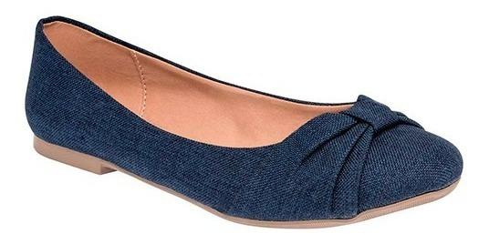 Zapato De Piso Dama Balerina Caramel 1108 Azul 23-26 T4