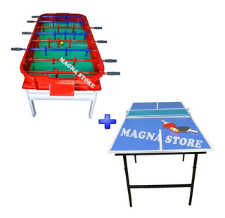 Combo Metegol Metal Aluminio + Mesa Ping Pong Familiar