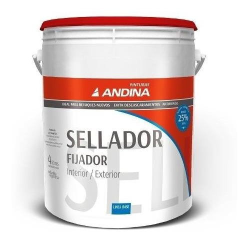 Sellador Fijador Al Agua Int/ext 4lt Andina 18 Cuotas S/int