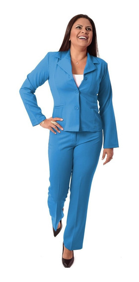 Terninho Feminino Blazer Sem Forro E Calça - Azul E Colorido