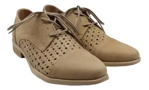Zapato Acordonado Cuero Calado Dama Mujer Base Goma 247
