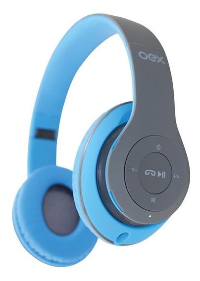 Fone Ouvido Headset Loud Bluetooth Hs304 Cartão Sd Azul Oex