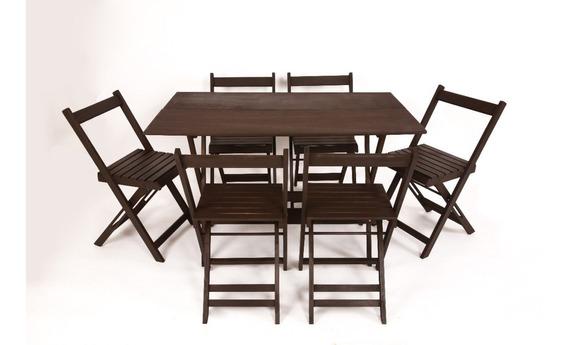 Jogo Mesa 120x70 E 6 Cadeiras Dobrável Bar Pintura Stain Uv