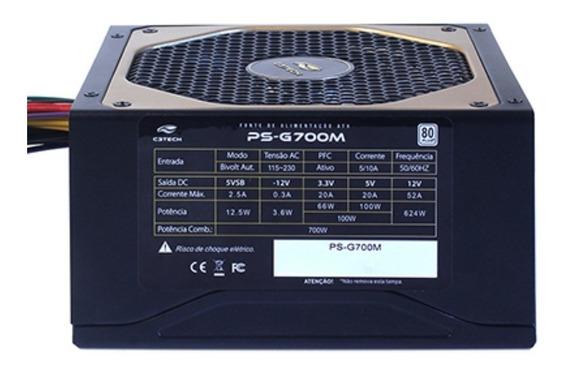 Fonte Atx 700w C3tech Pfc Ativo 80 Plus White Semi Modular