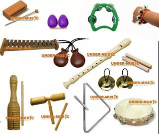 Combo Instrumentos Banda Ritmica Para El Colegio O Aprender! Cajon Percusion Cascabel Sonaja Chinchin Castañuelas Y Mas!
