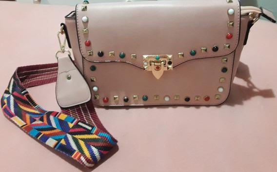 Bolsa Feminina Rosa Com Alça Transversal Colorida Outlet