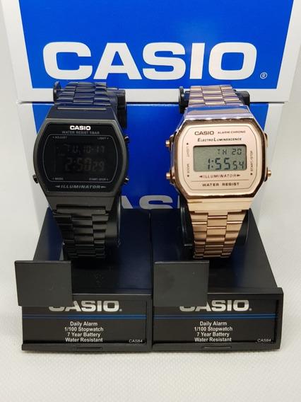 Reloj Negro Mate + Rose Gold B640w A-168 Vintage Retro Duo