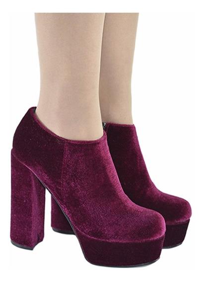 Botineta Mujer Corta Pana Modelo Diablita De Shoes Bayres