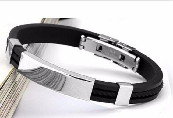 Pulseira Bracelete Masculina Silicone E Aço Inox Legitima