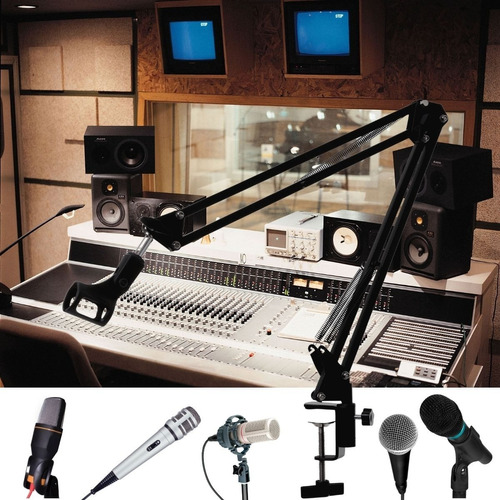 Imagem 1 de 8 de Braço Articulado Suporte De Microfone Mesa Profissional
