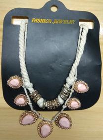 Fashion Colar Pedras Cor De Rosa