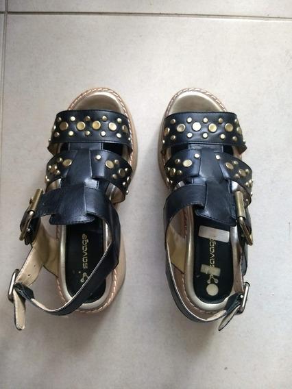 Sandalias Zapatos Savage Para Mujer Usadas Negras Tachas