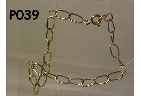##039p - Pulseira Em Ouro 18k - 3,1 Gramas - Elos 1 X 1