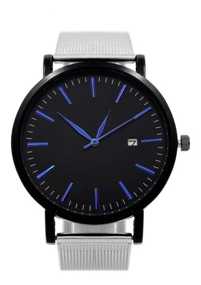 Reloj Caballero Casual Análogo Minimalista Plateado Nero N-p
