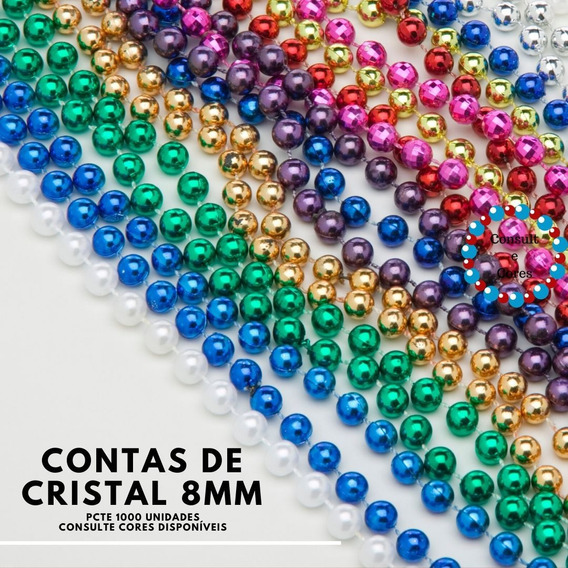 Miçangas De Cristal Vidro 8mm Atacado Umbanda Pacote C1000