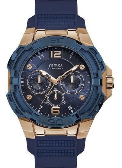 Relógio Guess W1254g3 Orig Chron Anal Gold Blue