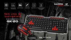 Kit Teclado E Mouse Usb Gamer Gk-20bk Preto C3tech