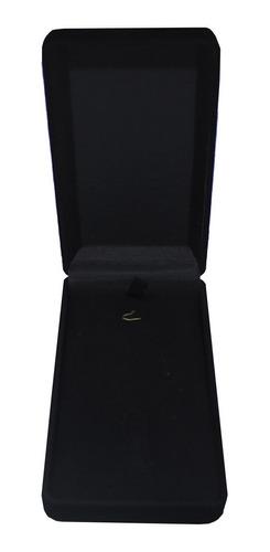 10 Caixas De Veludo Colar Pingente Chaveiro Preta 11,5x6 Cm