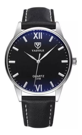 Relógio Social Masculino Pulseira De Couro Militar Luxo Yazole 318 Original Promoção